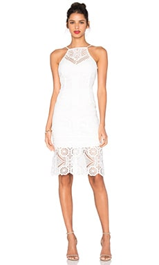 Sleeveless Square Neck Lace Dress in White