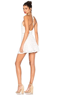 Sleeveless Halter Neck Lace Dress in White