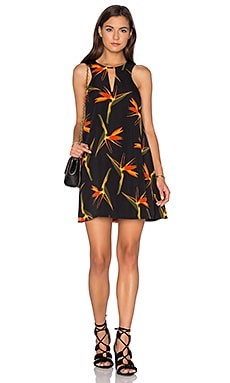 Sleeveless Keyhole Shift Dress in Orange Tropic