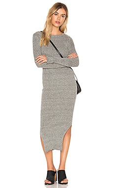Long Sleeve Crew Neck Midi Dress in Heather Grey