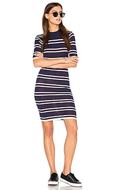 Bodycon Stripe Dress en Marine & Blanc & Rouge