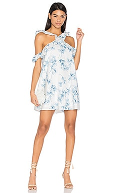 Flower Print Cold Shoulder Dress en Carreaux bleu
