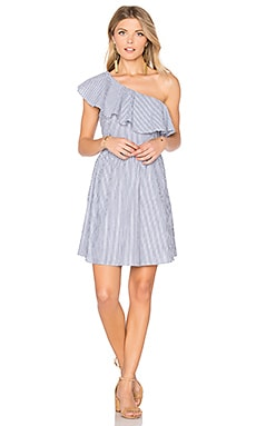 One Shoulder Stripe Mini Dress in Navy & White