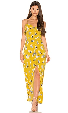 Flower Print Button Down Maxi en Imprimé Jaune