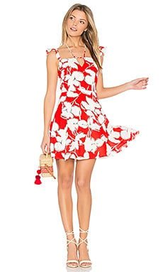 Flower Print Dress With Ruffle Shoulder in Red Multi