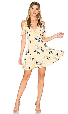 Flower Print Cold Shoulder Flare Dress in Yellow Multi