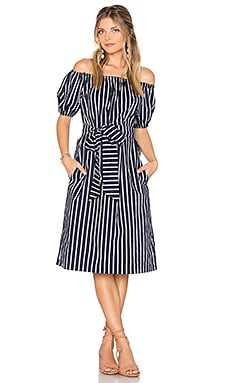 Stripe Off The Shoulder Dress in Navy Multi
