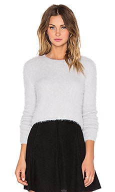 J.O.A. Round Neck Semi-Crop Sweater in Light Grey