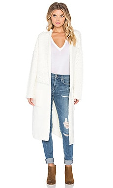 J.O.A. Contrast Boucle Knit Cardigan in Ivory
