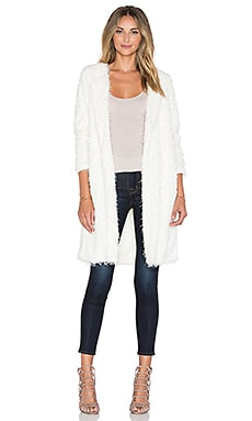 J.O.A. Yarn Round Neck Cardigan in White