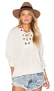 Lace Up Sweater en Ivory