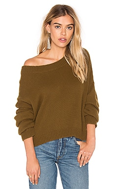 Long Sleeve Pullover Sweater en Olive Brown