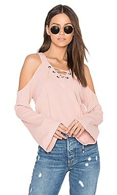 Cut Out Shoulder Top in Peach