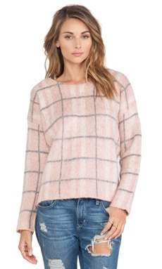 J.O.A. Checked Sweater in Blush Pink