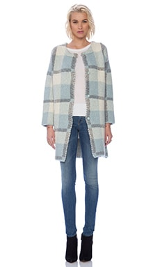 J.O.A. Plaid Oversize Coatigan in Baby Blue
