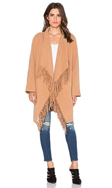 J.O.A. Cascade Fringe Coat in Light Brown