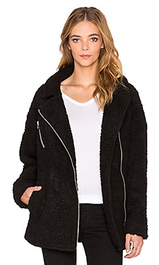 J.O.A. Asymmetric Zip Up Shearling Jacket in Black