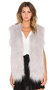 J.O.A. Faux Fur Vest in Grey