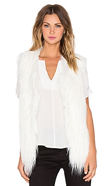 J.O.A. Shaggy Faux Fur Vest in Ivory