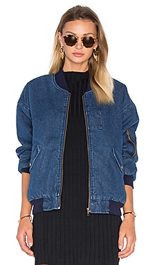 Front Pocket Bomber Jacket With Faux Sherpa Lining in Denim