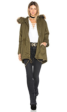 Drawstring Jacket with Faux Fur Trim in Army Green
