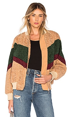Colorblock Teddy Faux Fur Jacket In Beige & Forest J.O.A. $89