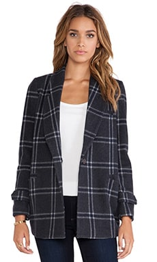 J.O.A. Classic Checked Collar Jacket in Charcoal