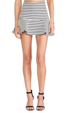 J.O.A. Striped Embo Skirt in Charcoal & White