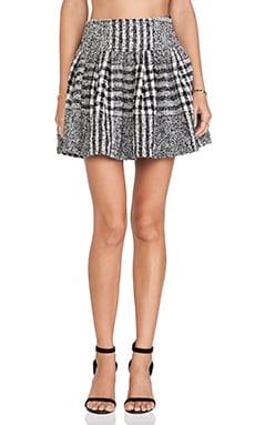 J.O.A. Printed Tweed Skirt in Black & White