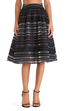 J.O.A. Striped Flocking Skirt in Black