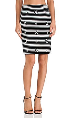 J.O.A. Embellished Striped Skirt in Black & White
