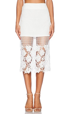 J.O.A. Floral Lace Skirt in White