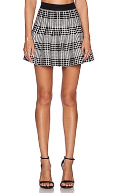 J.O.A. Knit Plaid Skater Skirt in Black & White