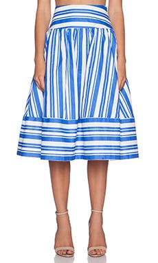 J.O.A. Striped Full Skirt in Blue