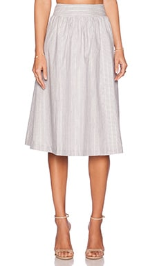 J.O.A. Midi Skirt in Ivory & Navy