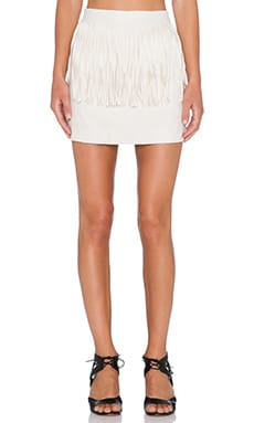 J.O.A. Fringe Suede Skirt in Natural