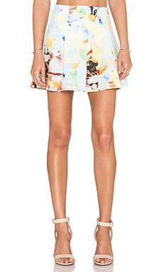 J.O.A. Flower Print Mini Skirt in Pastel Multi