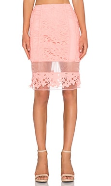 J.O.A. Lace Pencil Skirt in Peach