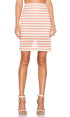 J.O.A. Striped Midi Skirt in Khaki & Neon Orange