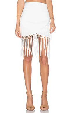J.O.A. Assymetric Fringe Skirt in Off White