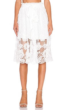 J.O.A. Midi Skirt in Off White