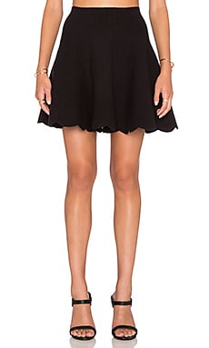 J.O.A. Scallop Hem Skirt in Black