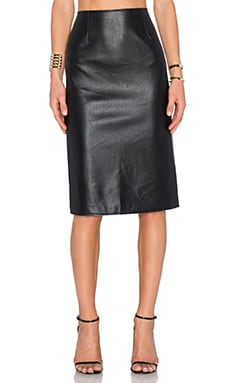 J.O.A. Back Slit Pencil Skirt in Black