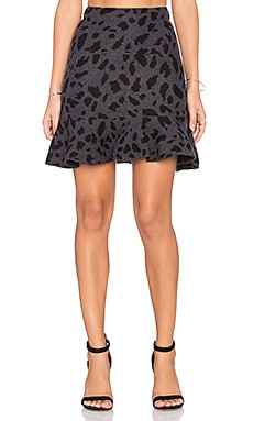 Flounce Leopard Skirt in Charcoal