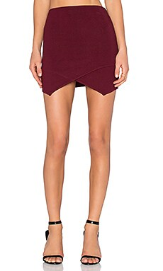 J.O.A. Wrap Mini Skirt in Burgundy