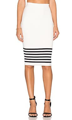 J.O.A. Stripe Pencil Skirt in Ivory