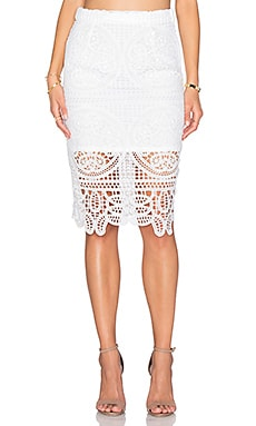 Lace Midi Skirt in White