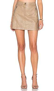 Side Zipper Mini Skirt in Light Khaki