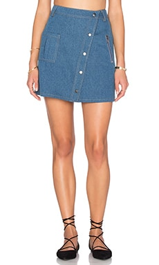 J.O.A. Slanted Hem Mini Skirt in Denim Blue