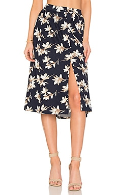 Flower Print Midi Skirt en Navy Multi